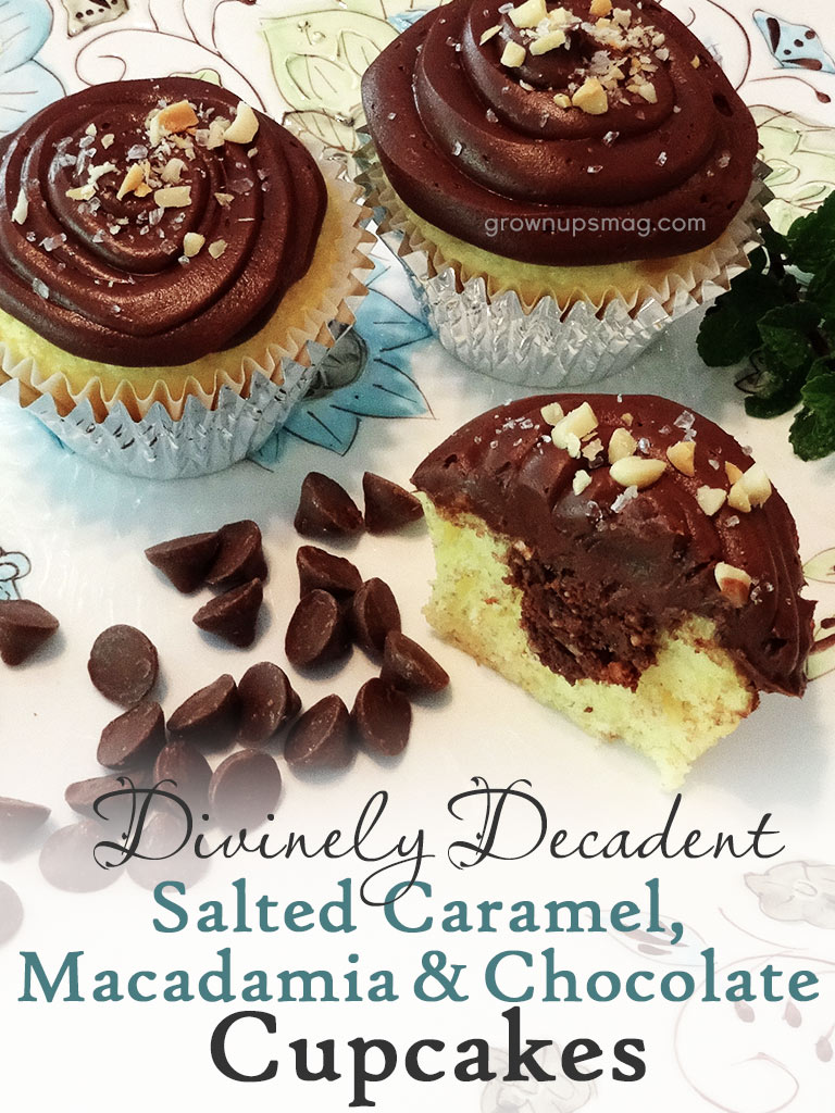 Caramel Macadamia Chocolate Cupcakes