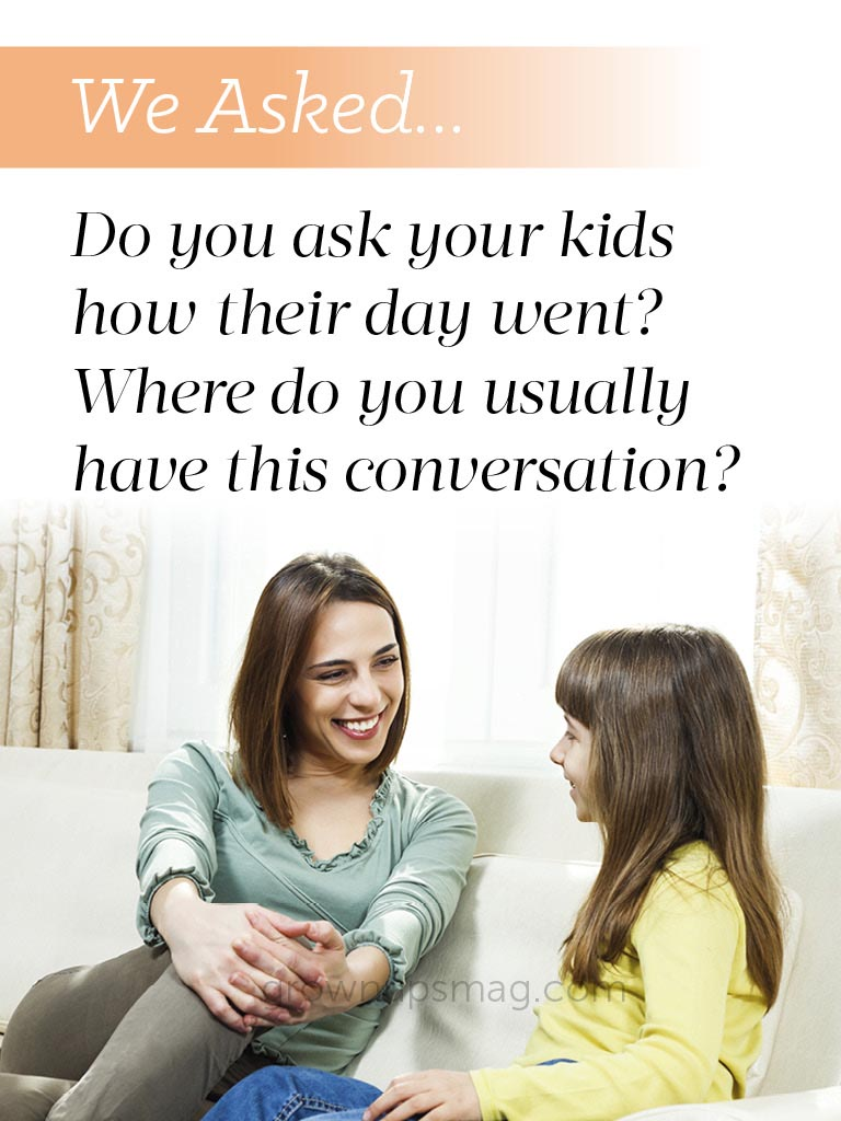 We asked... Kid Conversations - Grown Ups Magazine - We asked our readers: Do you ask your kids how their day went?
