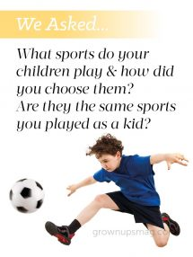 "We asked… Kids Sports - Grown Ups Magazine - We asked our readers: ""What sports do your children play"